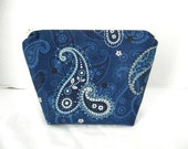 Paisley Makeup Bag - Navy Paisley Zip Pouch - Cosmetic Zipper Pouch - Flat Bottom Zipper Pouch