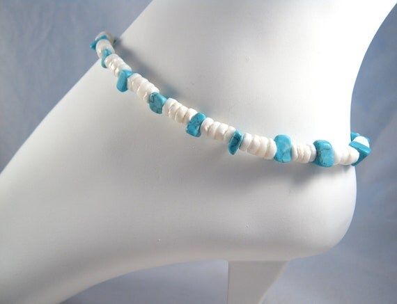 Beaded Shell Turquoise Ankle Bracelet Beach Boho Anklet Summer Fashion Foot Jewelry