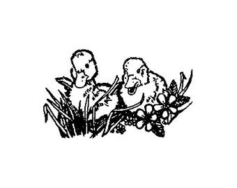 CLEARANCE Little baby ducklings Rubber Stamp Easter baby chicks ducks