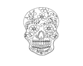 Sugar skull stamp, Day of the Dead stamp