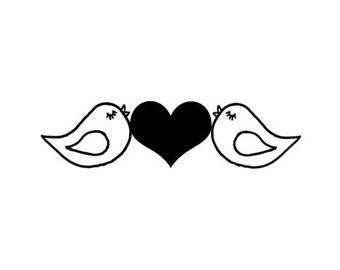 CLEARANCE Cute Love Birds with heart Rubber Stamp lovebirds