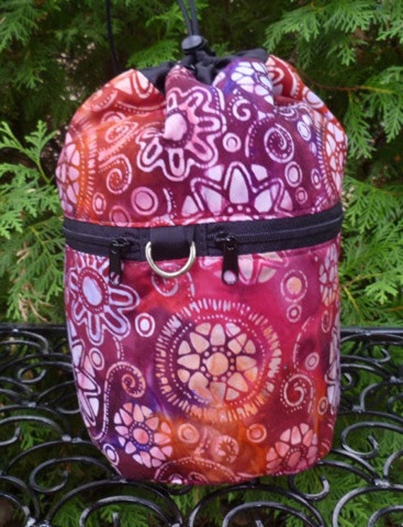 Batik Knitting project bag, Knitting in Public Drawstring Bag, WIP, Tango, Kipster