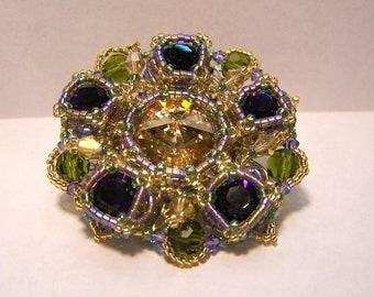 Royal crystal and seed bead beadwoven brooch