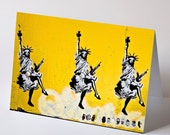 Graffiti Note Card - Statues of Liberty Dancing stencil graffiti photo note card greetings blank inside Americana satire.