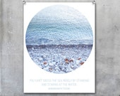 Pale blue sea photograph in circle with quotation - wall art, wall decor, fine art print, photo, calm, blue - EyeshootPhotography