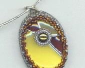Art Deco Pendant . Gray Pearl Sunny Pendant . Enamelled Cabochon . Caramel and Yellow Enamel - Keep an Eye on Her by enchantedbeads on Etsy