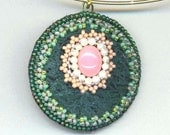 Beaded Beadwoven Flower Pendant . Cancer Awareness Pink . Teal Green Moss Agate Stone. Statement Pendant - Blossom by enchantedbeads on Etsy