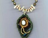 Beadwoven Necklace . Beaded Green Floral Pendant . Beadwork . Opal, Jade, White Coral, Pearl - OOAK Winner Ribbon by enchantedbeads on Etsy