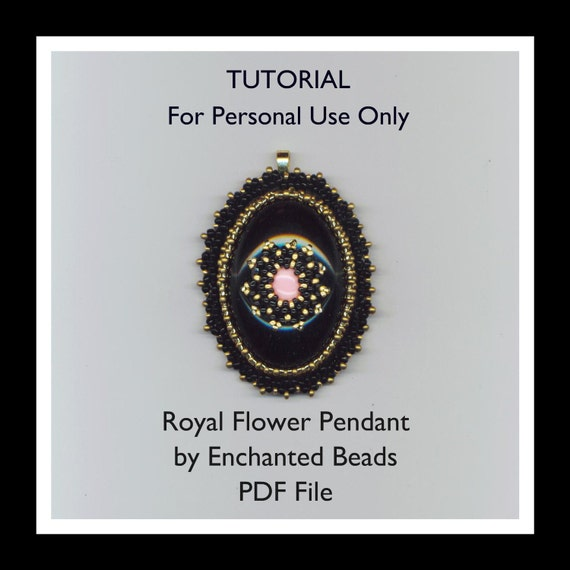 PDF File Tutorial . DIY. Royal Flower . Download . Beadwoven pendant in black, gold, and rose - Instructions only by enchantedbeads on Etsy