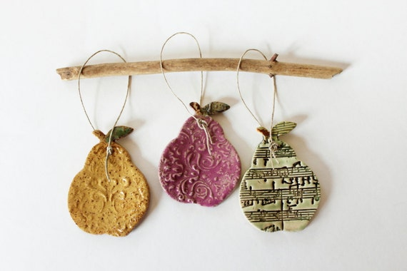 Set of Three Pears for Ornaments or for Year Round Display