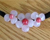 Flower Rose Quartz stone and coral necklace