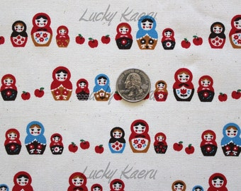 SALE Kawaii Japanese Matryoshka Apple Row Natural Fabric - Half Yard