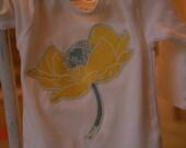 Onesie- yellow vintage flower applique