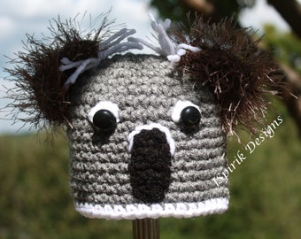 Instant Download Crochet Pattern for Little Koala Bear Hat for Baby Toddler Photo Prop Animal Woodland