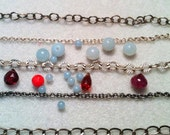 CUSTOM LISTING for BC - Elegant Anklet --- Black Pearl, Faceted Jet  and Solid Sterling Silver