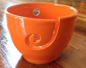 Bright Orange Yarn Bowl for Knitting