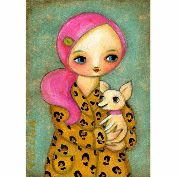 ORIGINAL painting PINK HAIR girl with chihuahua dog stretched canvas original art by tascha