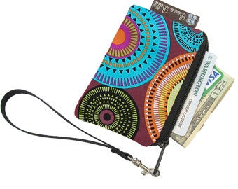 Pixy Roo Small Wristlet - coin purse - credit card purse - Zippered Pouch - Bohemian Jewels Fabric