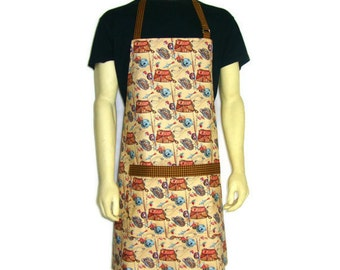 Kitchen Apron for Men , Fly Fishing Tackle , Tan with Brown Trim , Cabin Decor