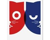 Original Art Print - Dueling Watson the Cat - Hand Screen Printed