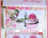 Birthday Organizer Box with Monthly Dividers Shabby Cottage Chic Cupcake Digital U-PRINT INSTANT DOWNLOAD