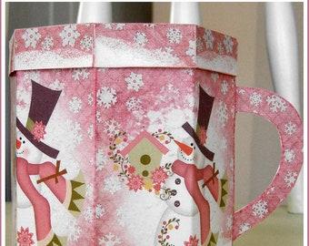 INSTANT DOWNLOAD Cottage Chic Snowman Soup Mug Gift Box and Tags Set U-PRINT Christmas Digital Printable