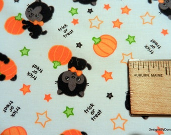 One Fat Quarter Cut Quilt Fabric, Halloween Black Kittens, Orange Pumpkins, Trick or Treat & Stars on white, Sewing-Quilting-Craft Supplies