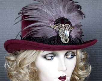 Top Hat Couture Equestrian Or Steampunk Full Size Top Hat In Berry Wine Velour and Aubergine Tipped Feathers - On Sale