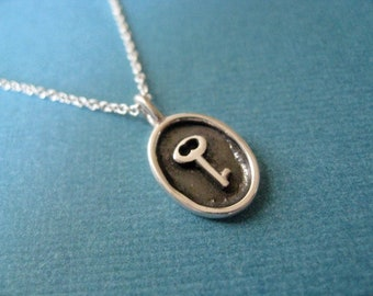 Sterling Silver Antique Key Charm Necklace