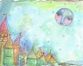 Cabanas By The Moonlight Whimsical Print Nursery Wall Art by Shelley Szczucki