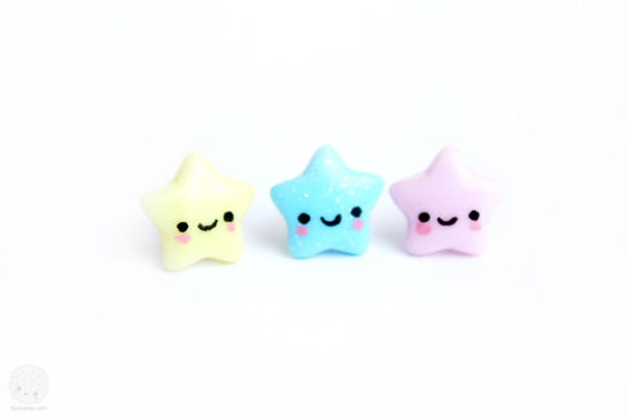 Star Studs - Kawaii Cute Jewelry - Handmade Polymer Clay Earrings, stocking stuffer, gift for girls