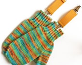 Kids Mittens With Thumbs and Clips. Childs Unisex 6 to 8 Years Handknit Wool Handwarmers. Yellow Orange Green Stripe Winter Thumbed Gloves