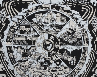 The Wheel of Deluded Capitalist Existence - Screenprint