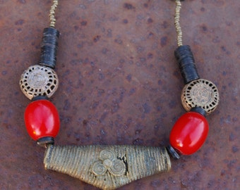 Ashante Tribal Necklace- Lost Wax Brass and Amber