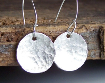 Etsy, Etsy Jewelry, Silver Earrings, , Hand Hammered Silver Filled Disc Earrings, Hammered Earrings, Silver Discs, Jewelry, Gift