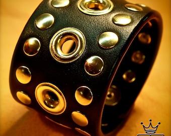 Leather cuff Bracelet Black Brass- Custom Made for YOU in NYC by Freddie Matara