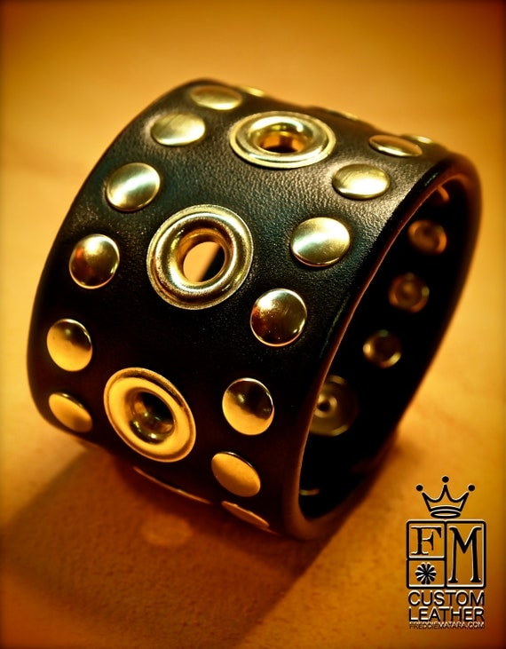 Leather cuff Bracelet Black Brass- Custom Made for YOU in NYC by Freddie Matara