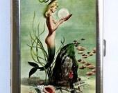 Mermaid Cigarette Case Wallet Business Card Holder nude under water retro rockabilly