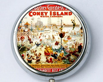 Coney Island Circus PILL CASE pillbox pill box holder circus sideshow boxers clowns