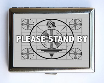 TV Please Stand By Cigarette Case Wallet Business Card Holder television test pattern indian