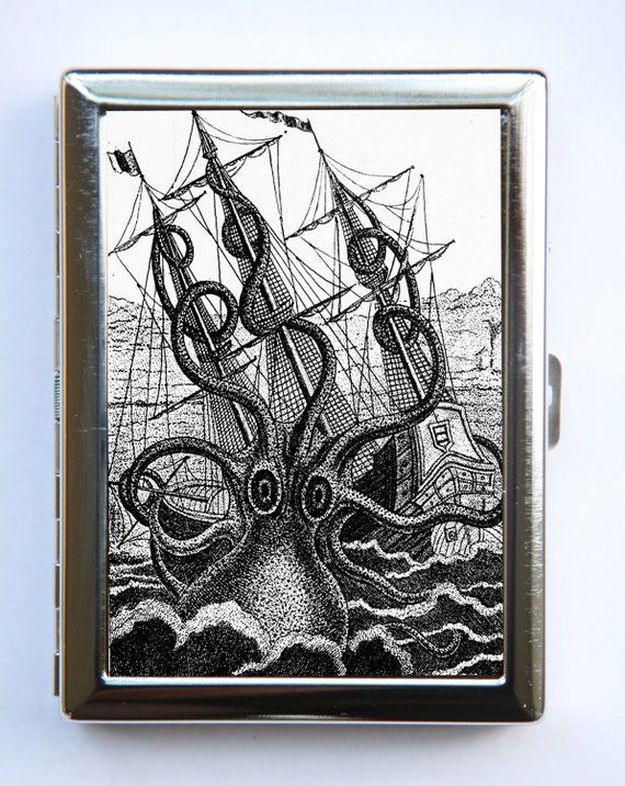 Octopus attacking Ship Cigarette Case Wallet Business Card Holder STEAMPUNK gothic nautical