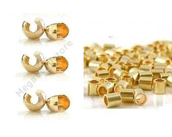 14K Gold Filled 2mm Crimp Bead (25 pcs) and 3mm Cover (25 pcs) Mix