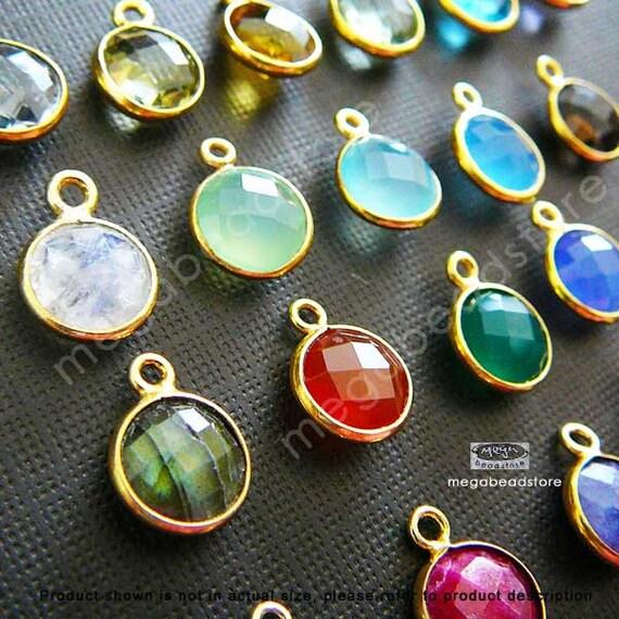 12mm (8mm Stone) Bezel Gemstone Charm Vermeil Gold F383- 52 pcs (Choose your color)