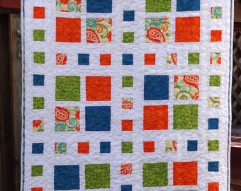 Modern Lap or Baby Quilt - Summertime Squares