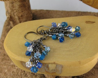 Glacier icy blue and aqua multicolor gunmetal finish Swarovski Crystal cascade french hook earrings