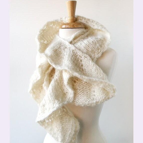 Winter Fashion - Knit Scarf - Feminine and Romantic - Ivory White