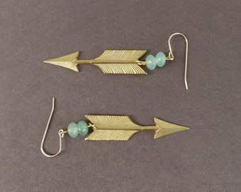 raw brass arrow earrings with green aventurine beads and gold filled earrings