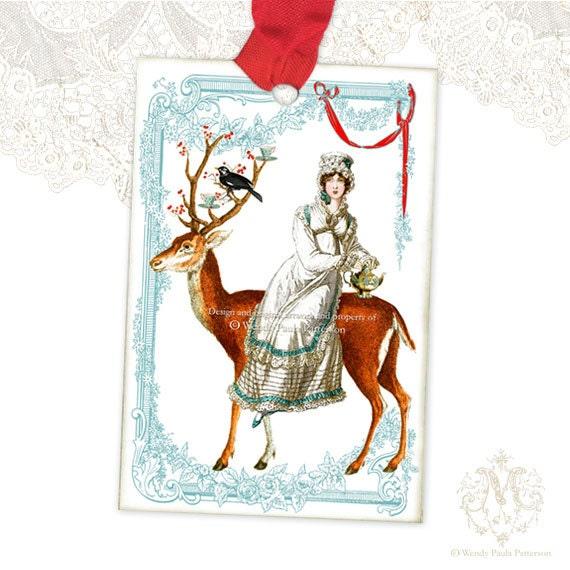 Jane Austen gift tags, Winter Woodland, Deer,  Regency, red berries, teapot, Christmas, vintage style