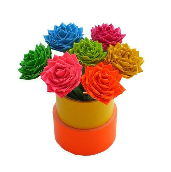 Duct Tape Flower Pens Bright Colors - Set of Two