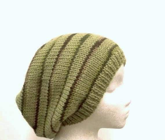Knit Beanie soft green slouch Beret w/multicolor stripes  size large  4508